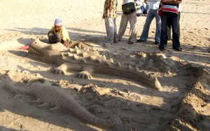 Sand animals on Juhu beach.