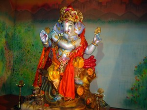 An eye catching statue of Lord Ganesh.