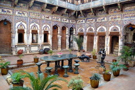 Inside the beautifully restored Nadine Le Prince haveli.