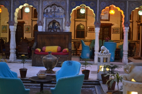 Inner courtyard of the beautiful Mandawa Haveli hotel.