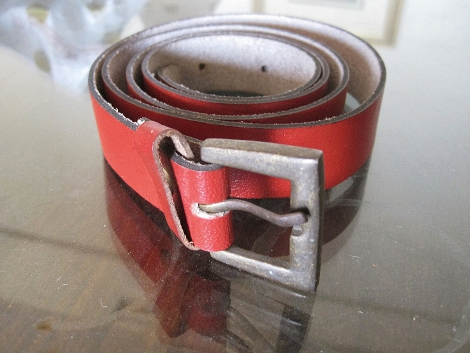 Soft deep red leather belt that I bought.